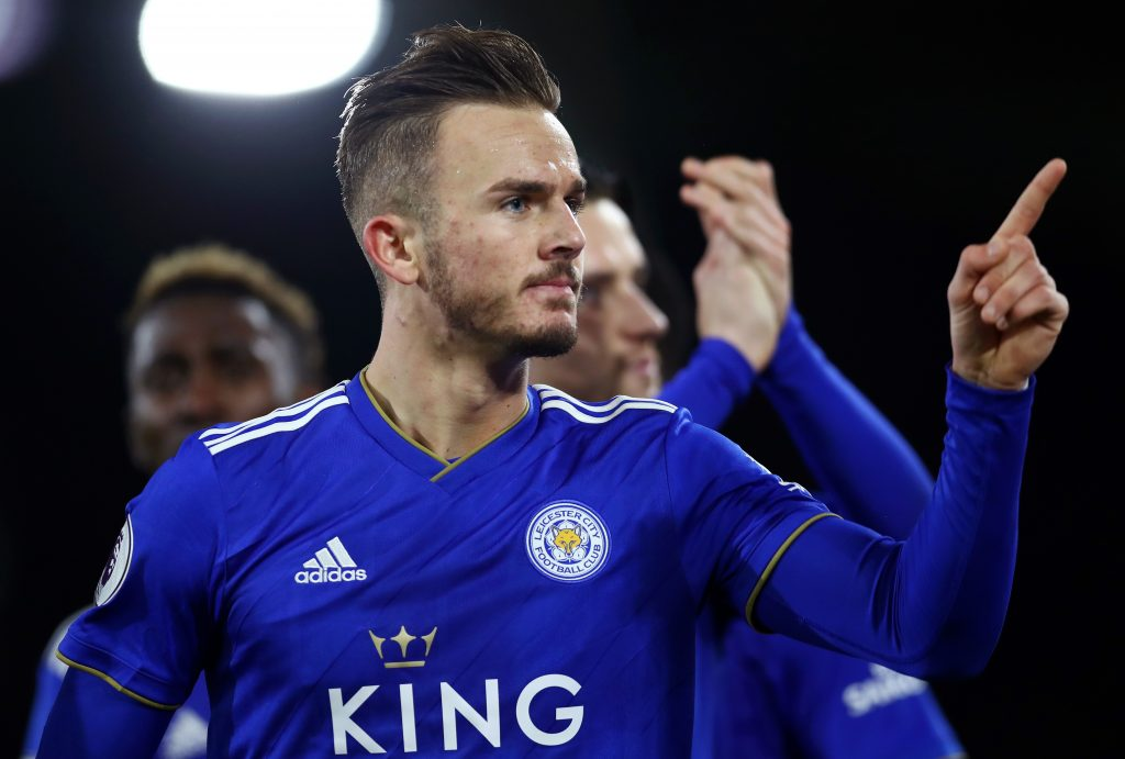 LONDON, ENGLAND - DECEMBER 05: James Maddison of Leicester City celebrates after scoring his team's first goal during the Premier League match between Fulham FC and Leicester City at Craven Cottage on December 5, 2018 in London, United Kingdom. (Photo by Clive Rose/Getty Images)