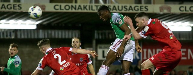 SSE Airtricity League Premier Division, Turner's Cross, Cork 14/2/2020 Cork City vs Shelbourne Cork City's Joseph Olowu with Daniel O'Reilly and Ciaran Kilduff of Shelbourne Mandatory Credit ©INPHO/Laszlo Geczo