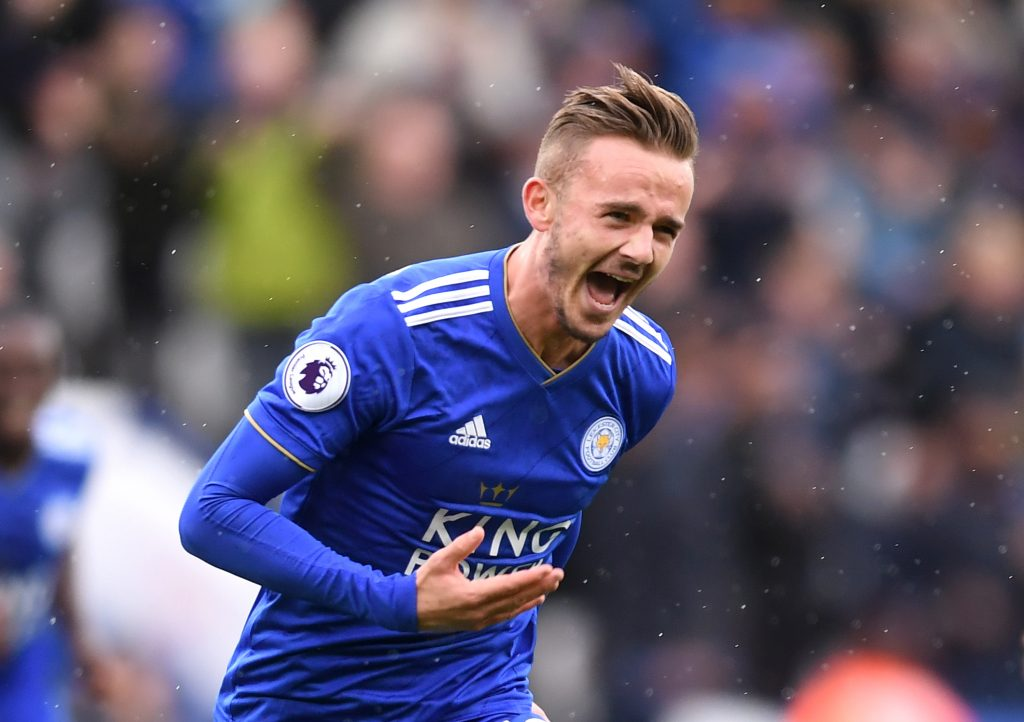 LEICESTER, ENGLAND - SEPTEMBER 22: James Maddison of Leicester City celebrates after scoring his team's second goal during the Premier League match between Leicester City and Huddersfield Town at The King Power Stadium on September 22, 2018 in Leicester, United Kingdom. (Photo by Laurence Griffiths/Getty Images)