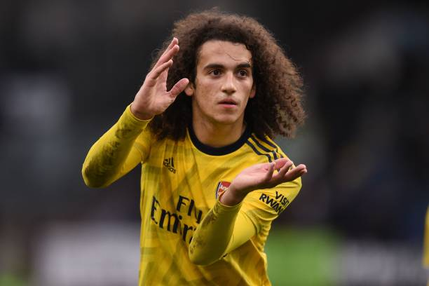 Arsenal's French midfielder Matteo Guendouzi gestures to supporters as he leaves after the English Premier League football match between Burnley and Arsenal at Turf Moor in Burnley, north west England on February 2, 2020. - The game finished 0-0. (Photo by Oli SCARFF / AFP)