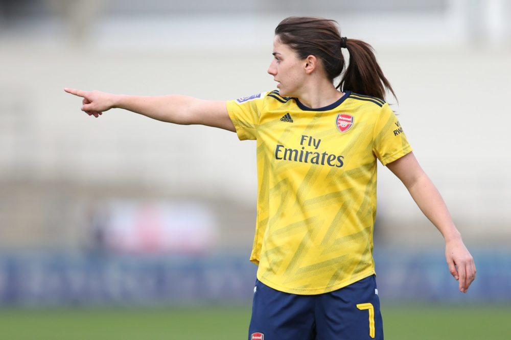 MANCHESTER, ENGLAND - FEBRUARY 02: Danielle Van De Donk of Arsenal reacts during the Barclays FA Women's Super League match between Manchester City and Arsenal at The Academy Stadium on February 02, 2020 in Manchester, United Kingdom. (Photo by Charlotte Tattersall/Getty Images)