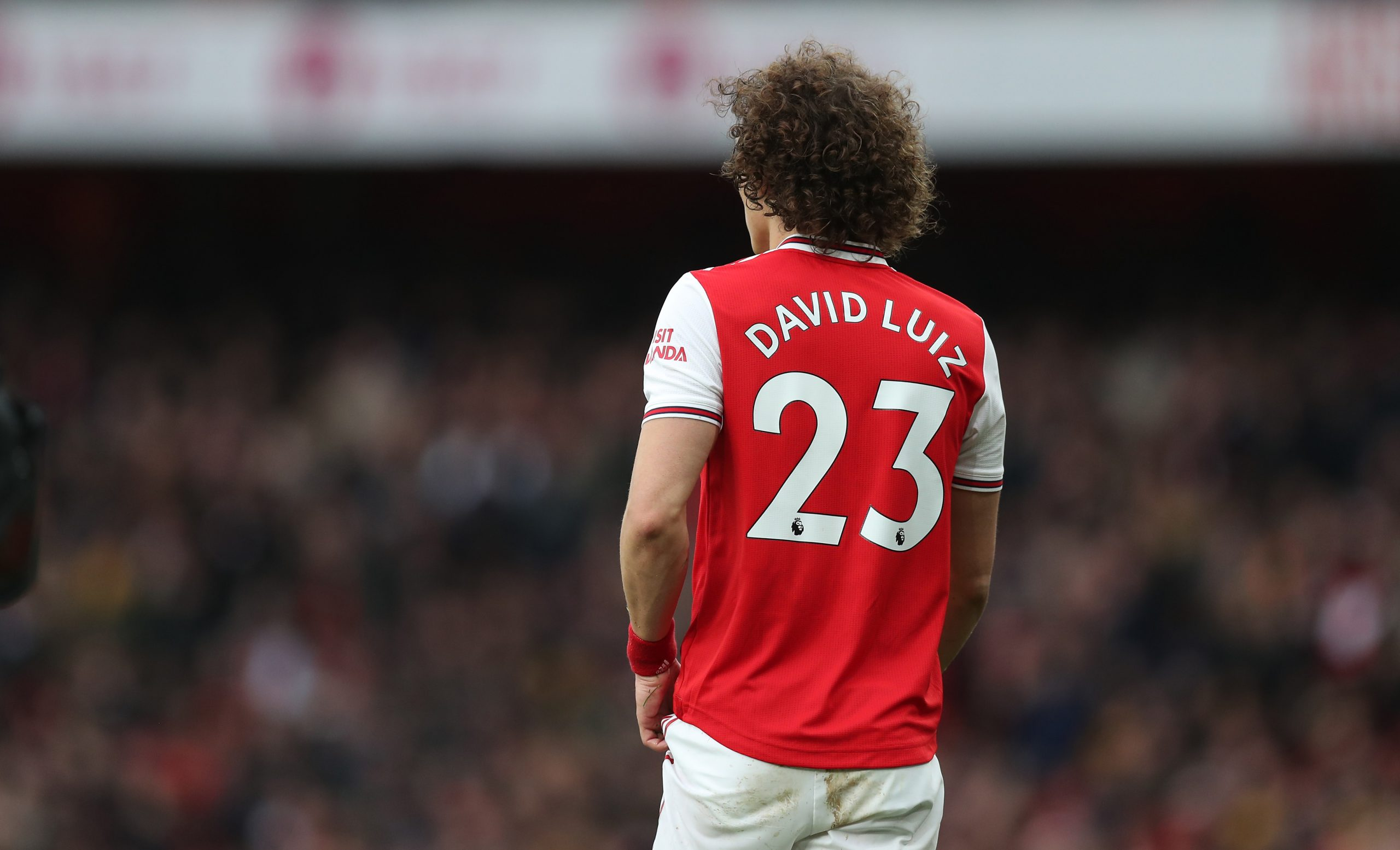 David Luiz of Arsenal during the Premier League match between Arsenal FC and West Ham United at Emirates Stadium on March 07, 2020 in London, United Kingdom.