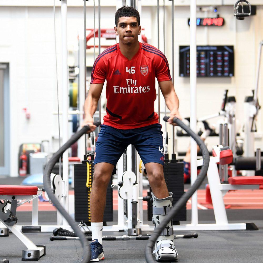 Arsenal's Tyreece John-Jules working on his injury rehabilitation (Photo via John-Jules on Twitter)