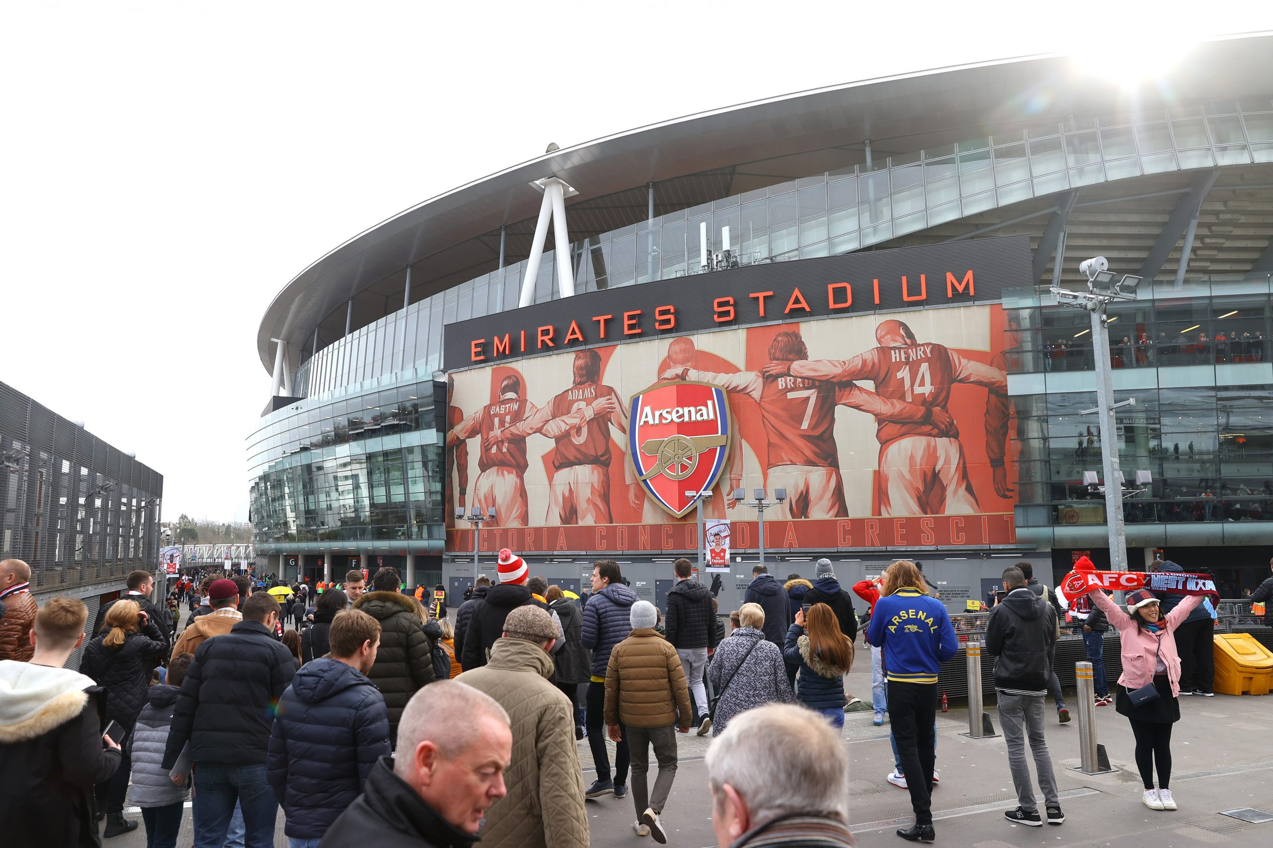 Fans make their way to the stadium prior to the Premier League match between Arsenal FC and West Ham United at Emirates Stadium on March 07, 2020 in London, United Kingdom.