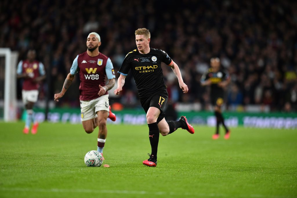 Manchester City's Belgian midfielder Kevin De Bruyne runs with the ball during the English League Cup final football match between Aston Villa and Manchester City at Wembley stadium in London on March 1, 2020.