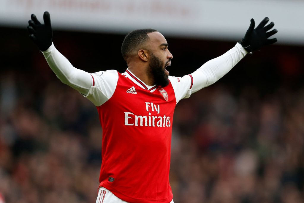 Arsenal's French striker Alexandre Lacazette appeals to the referee during the English Premier League football match between Arsenal and West Ham at the Emirates Stadium in London on March 7, 2020.