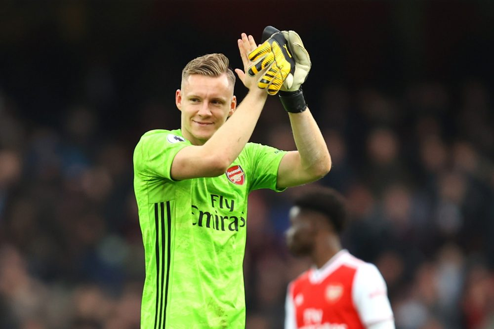 Bernd Leno of Arsenal applauds fans following his sides victory in the Premier League match between Arsenal FC and West Ham United at Emirates Stadium on March 07, 2020 in London, United Kingdom.