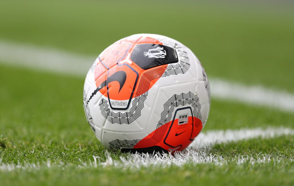 General view of the match ball during the Premier League match between Arsenal FC and West Ham United at Emirates Stadium on March 07, 2020 in London, United Kingdom.