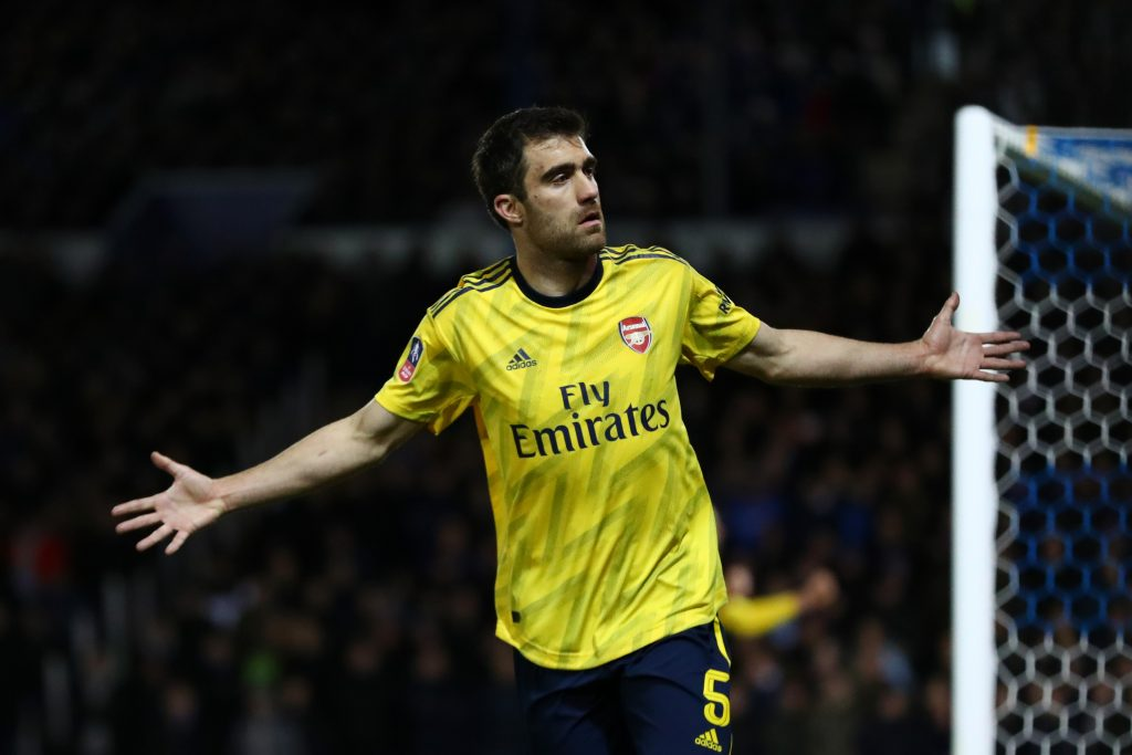 Sokratis Papastathopoulos of Arsenal celebrates after scoring his team's first goal during the FA Cup Fifth Round match between Portsmouth FC and Arsenal FC at Fratton Park on March 02, 2020 in Portsmouth, England.