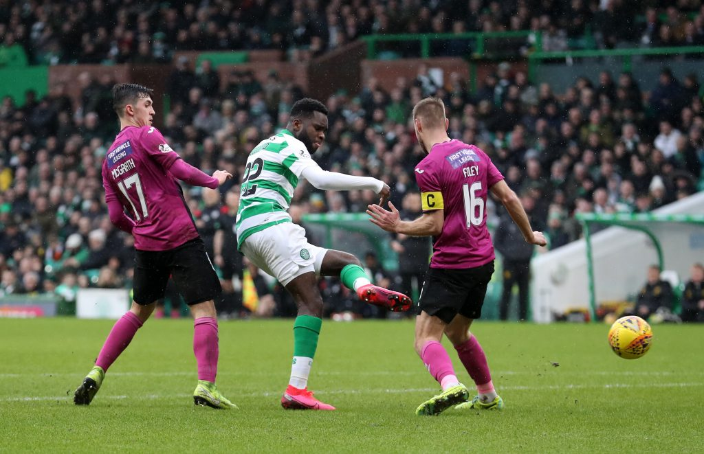 GLASGOW, SCOTLAND - MARCH 07: Odsonne Edouard of Celtic scores his team's third goal during the Ladbrokes Premiership match between Celtic and St. Mirren at Celtic Park on March 07, 2020, in Glasgow, Scotland. (Photo by Ian MacNicol/Getty Images)