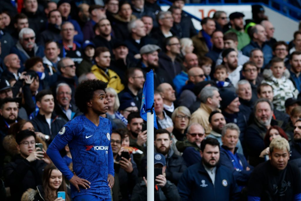Chelsea's Brazilian midfielder Willian waits to take a corner kick during the English Premier League football match between Chelsea and Everton at Stamford Bridge in London on March 8, 2020. (Photo by Adrian DENNIS / AFP via Getty Images)