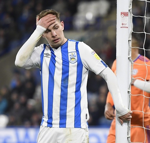 HUDDERSFIELD, ENGLAND - FEBRUARY 12: Emile Smith Rowe of Huddersfield Town dejectedly reacts during the Sky Bet Championship match between Huddersfield Town and Cardiff City at John Smith's Stadium on February 12, 2020, in Huddersfield, England. (Photo by George Wood/Getty Images)