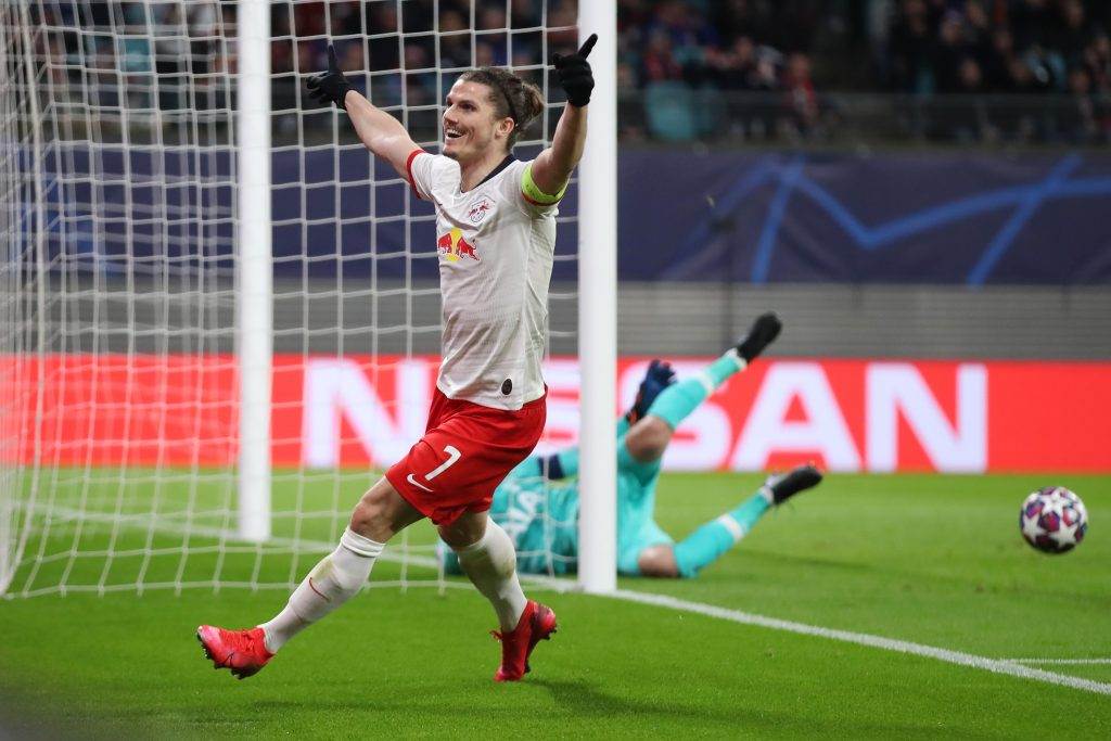 LEIPZIG, GERMANY - MARCH 10: Marcel Sabitzer of Leipzig celebrates his team's second goal during the UEFA Champions League round of 16 second leg match between RB Leipzig and Tottenham Hotspur at Red Bull Arena on March 10, 2020, in Leipzig, Germany. (Photo by Alex Grimm/Bongarts/Getty Images)