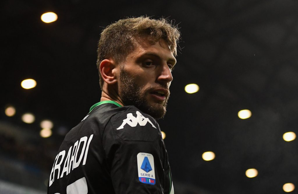 REGGIO NELL'EMILIA, ITALY - JANUARY 18: Domenico Berardi of US Sassuolo looks on during the Serie A match between US Sassuolo and Torino FC at Mapei Stadium - Città del Tricolore on January 18, 2020, in Reggio nell'Emilia, Italy (Photo by Alessandro Sabattini/Getty Images)