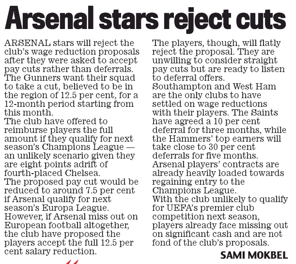 Arsenal stars reject pay-cut Daily Mail 13 April 2020, page 64
