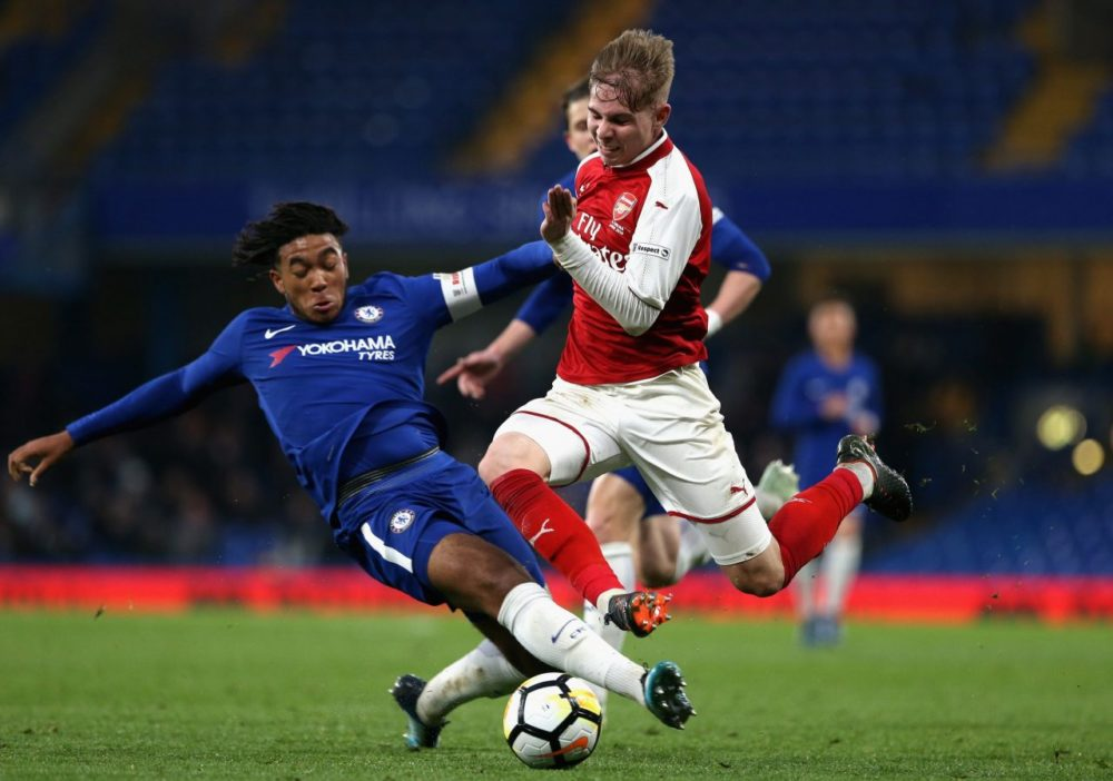 LONDON, ENGLAND - APRIL 27: Reece James of Chelsea tackles Emile Smith-Rowe of Arsenal during the FA Youth Cup Final first leg match between Chelsea and Arsenal at Stamford Bridge on April 27, 2018 in London, England. (Photo by Alex Pantling/Getty Images)