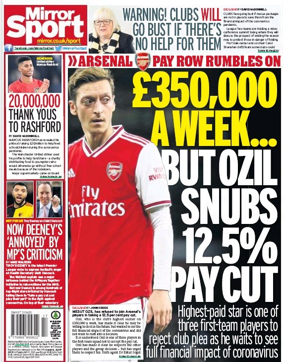 Mesut Ozil pay cut refusal made all the headlines - Daily Mirror 21 April 2020