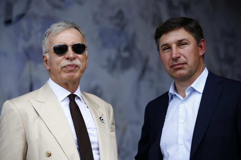 LOS ANGELES, CALIFORNIA - SEPTEMBER 15:  Los Angeles Rams owner Stan Kroenke (L) talks with SoFi CEO Anthony Noto (R) before the game between the Los Angeles Rams and the New Orleans Saints at Los Angeles Memorial Coliseum on September 15, 2019 in Los Angeles, California. (Photo by Sean M. Haffey/Getty Images)