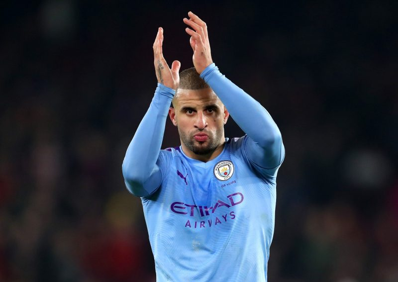 SHEFFIELD, ENGLAND - JANUARY 21: Kyle Walker of Manchester City acknowledges the fans during the Premier League match between Sheffield United and Manchester City at Bramall Lane on January 21, 2020 in Sheffield, United Kingdom. (Photo by Catherine Ivill/Getty Images)