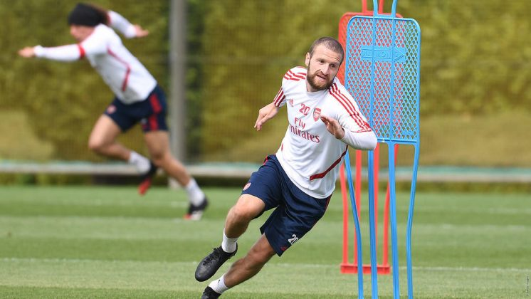 Shkodran Mustafi in training with Arsenal (Photo via Arsenal.com)