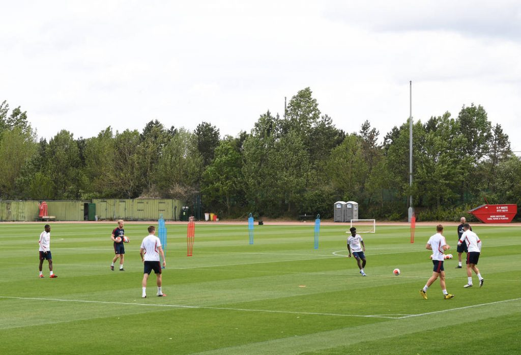 ST ALBANS, ENGLAND - MAY 22: Arsenal during a training session at London Colney on May 22, 2020 in St Albans, England. (Photo by Stuart MacFarlane/Arsenal FC via Getty Images)