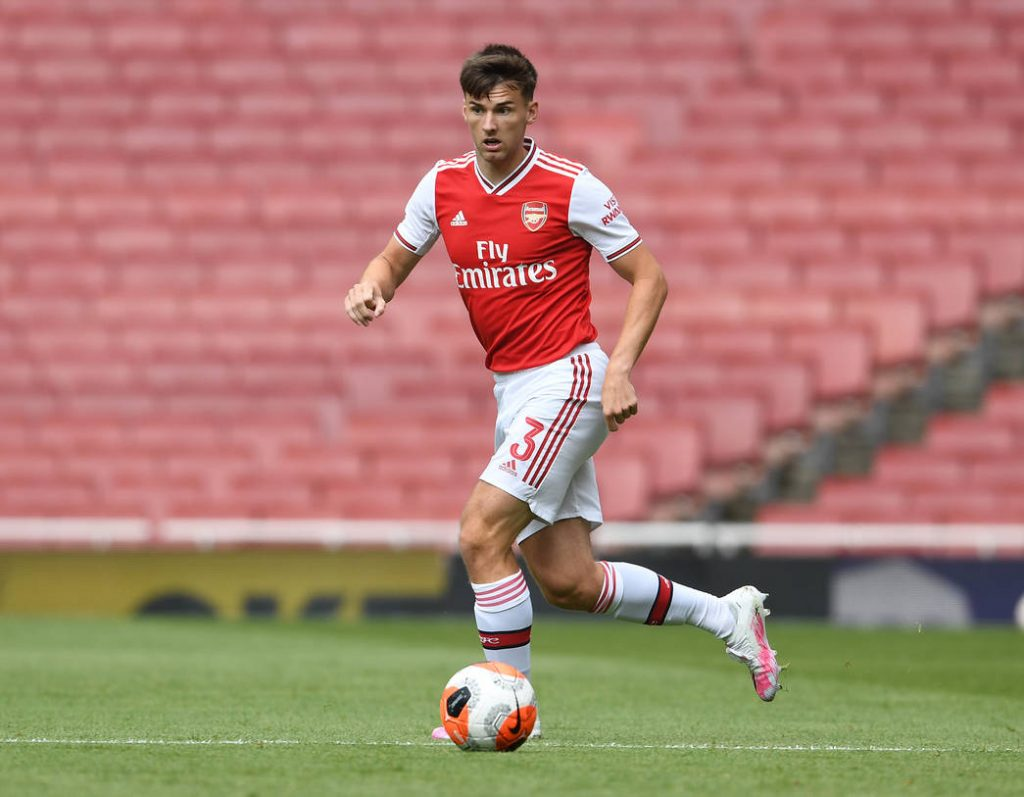 LONDON, ENGLAND - JUNE 06: Kieran Tierney of Arsenal during a friendly match between Arsenal and Charlton Athletic at Emirates Stadium on June 06, 2020 in London, England. (Photo by Stuart MacFarlane/Arsenal FC via Getty Images)