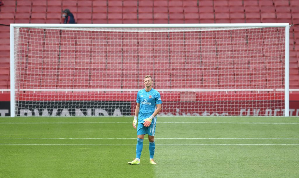 LONDON, ENGLAND - JUNE 06: Bernd Leno of Arsenal during a friendly match between Arsenal and Charlton Athletic at Emirates Stadium on June 06, 2020 in London, England. (Photo by Stuart MacFarlane/Arsenal FC via Getty Images)