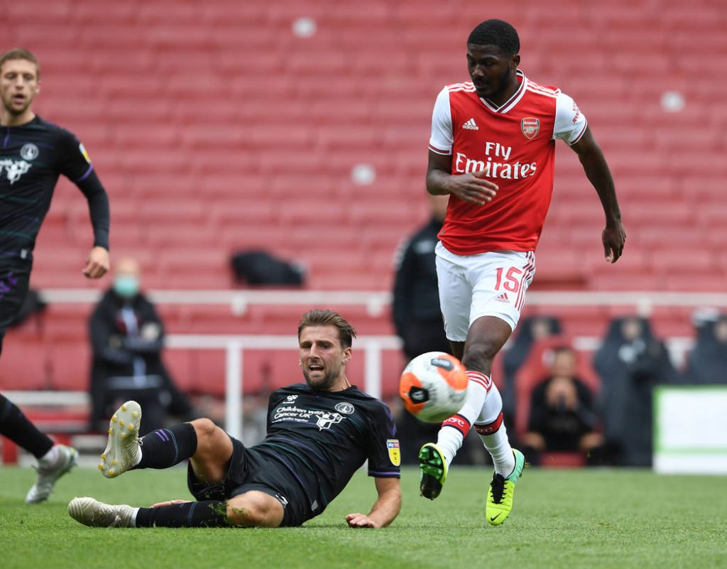 LONDON, ENGLAND - JUNE 06: Ainsley Maitland-Niles of Arsenal during a friendly match between Arsenal and Charlton Athletic at Emirates Stadium on June 06, 2020 in London, England. (Photo by Stuart MacFarlane/Arsenal FC via Getty Images)