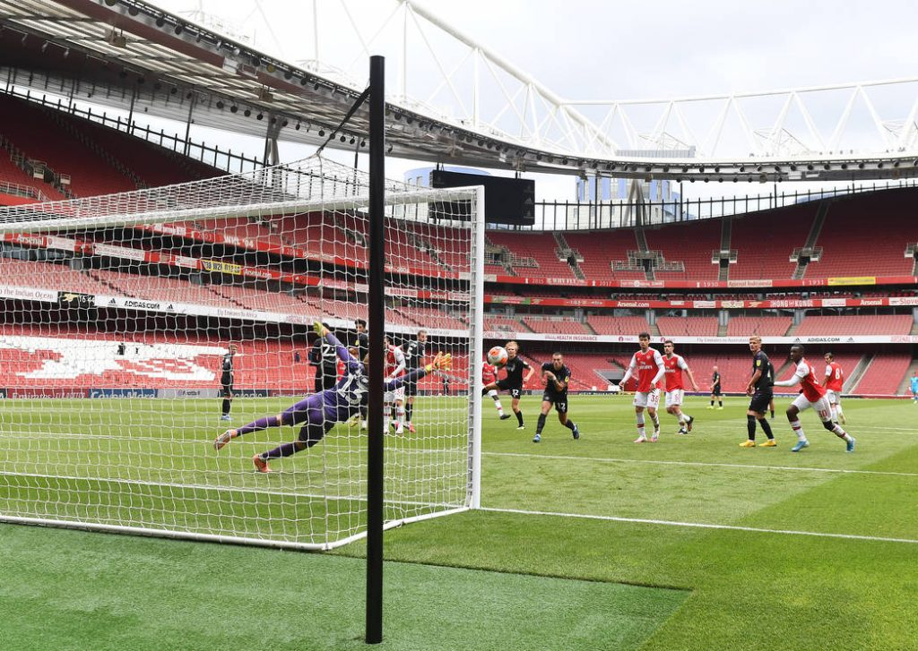 LONDON, ENGLAND - JUNE 06: Arsenal during a friendly match between Arsenal and Charlton Athletic at Emirates Stadium on June 06, 2020 in London, England. (Photo by Stuart MacFarlane/Arsenal FC via Getty Images)