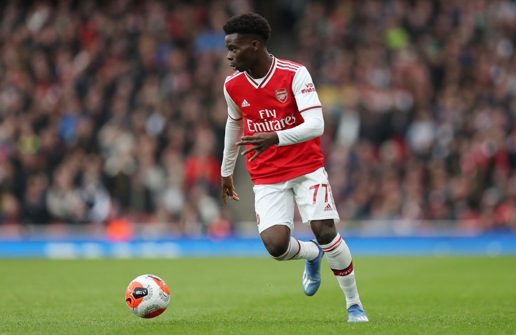 LONDON, ENGLAND - MARCH 07: Bukayo Saka of Arsenal during the Premier League match between Arsenal FC and West Ham United at Emirates Stadium on March 07, 2020 in London, United Kingdom. (Photo by Alex Morton/Getty Images)