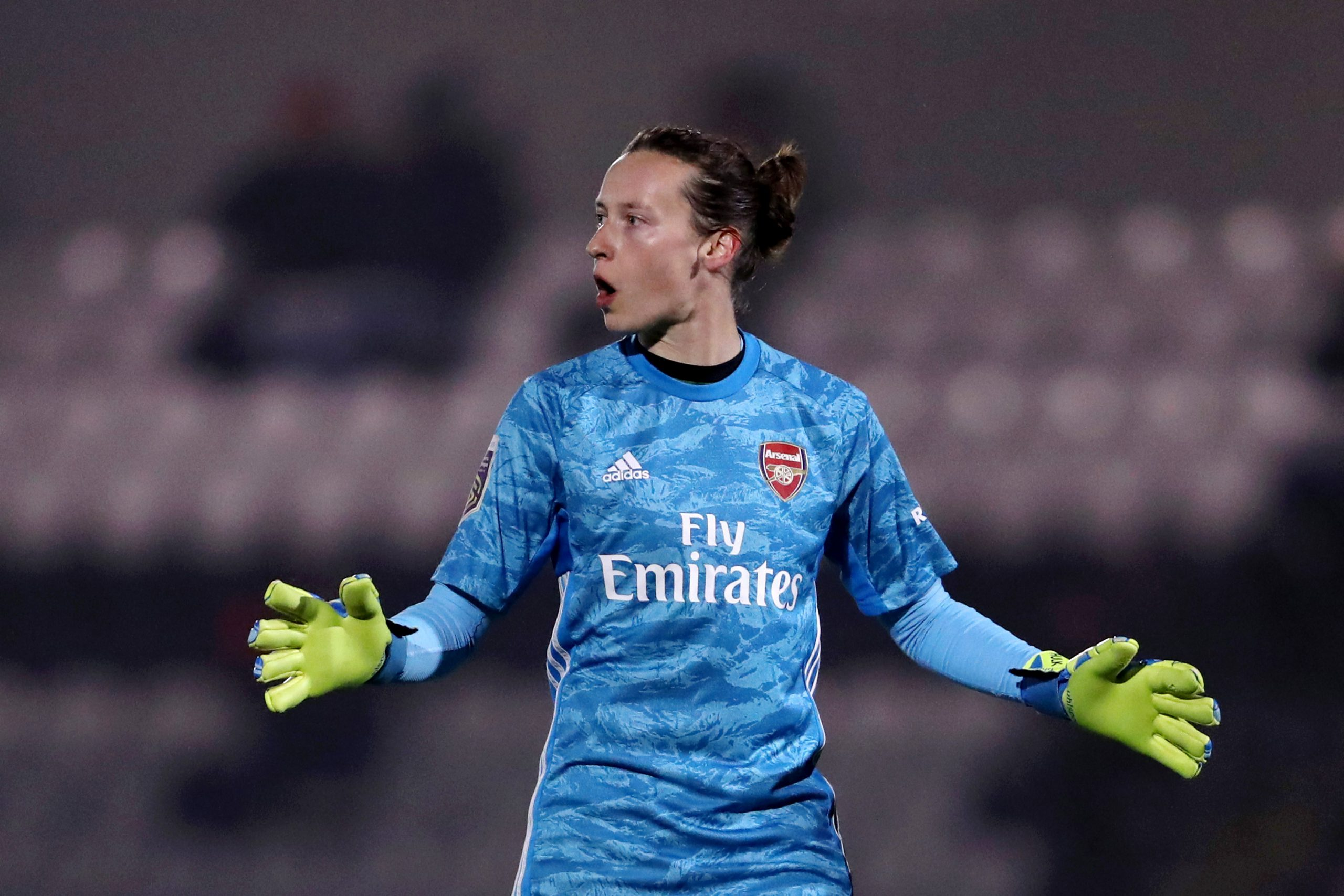 BOREHAMWOOD, ENGLAND - NOVEMBER 21: Pauline Peyraud-Magnin of Arsenal Women reacts during the FA Women's Continental League Cup game between Arsenal Women and Bristol City Women at Meadow Park on November 21, 2019 in Borehamwood, England. (Photo by Linnea Rheborg/Getty Images)
