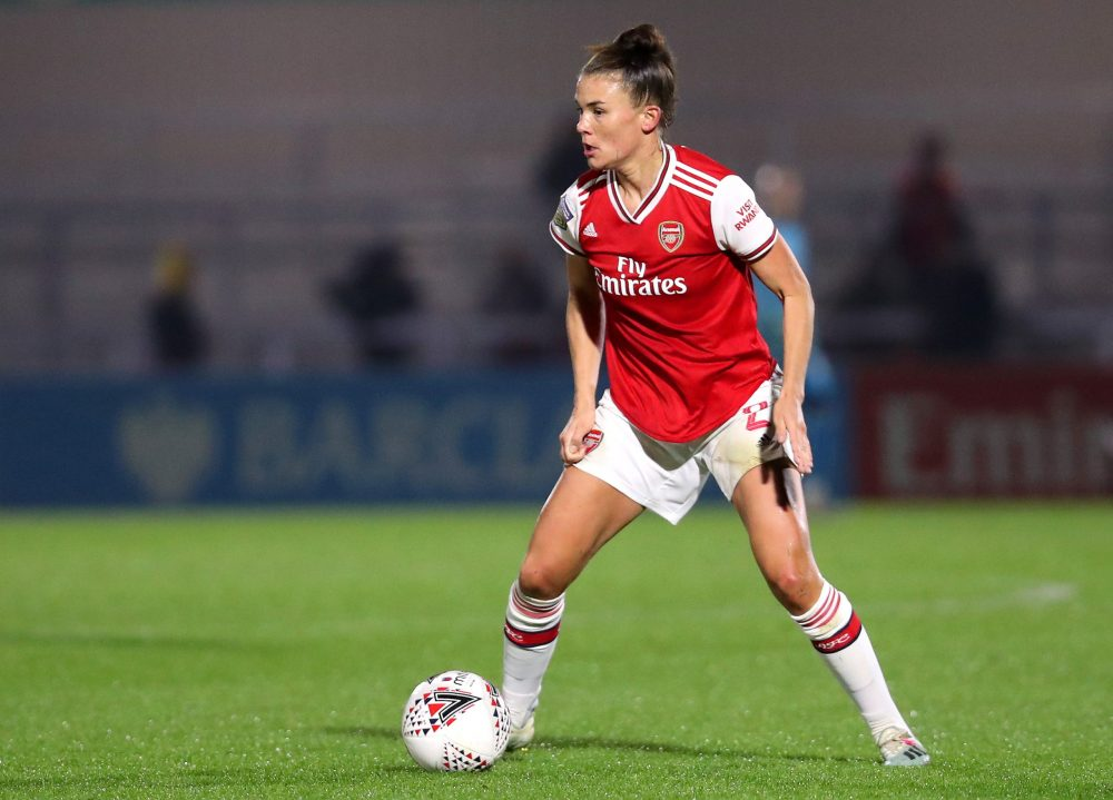 BOREHAMWOOD, ENGLAND - OCTOBER 31: Katrine Veje of Arsenal Women runs with the ball during the UEFA Women's Champions League Round of 16 Second Leg match between Arsenal Women and SK Slavia Praha at Meadow Park on October 31, 2019 in Borehamwood, England. (Photo by James Chance/Getty Images)