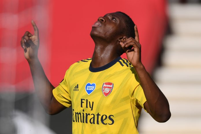 Arsenal's English striker Eddie Nketiah celebrates after he scores the team's first goal during the English Premier League football match between Southampton and Arsenal at St Mary's Stadium in Southampton, southern England on June 25, 2020. (Photo by Mike Hewitt / POOL / AFP)