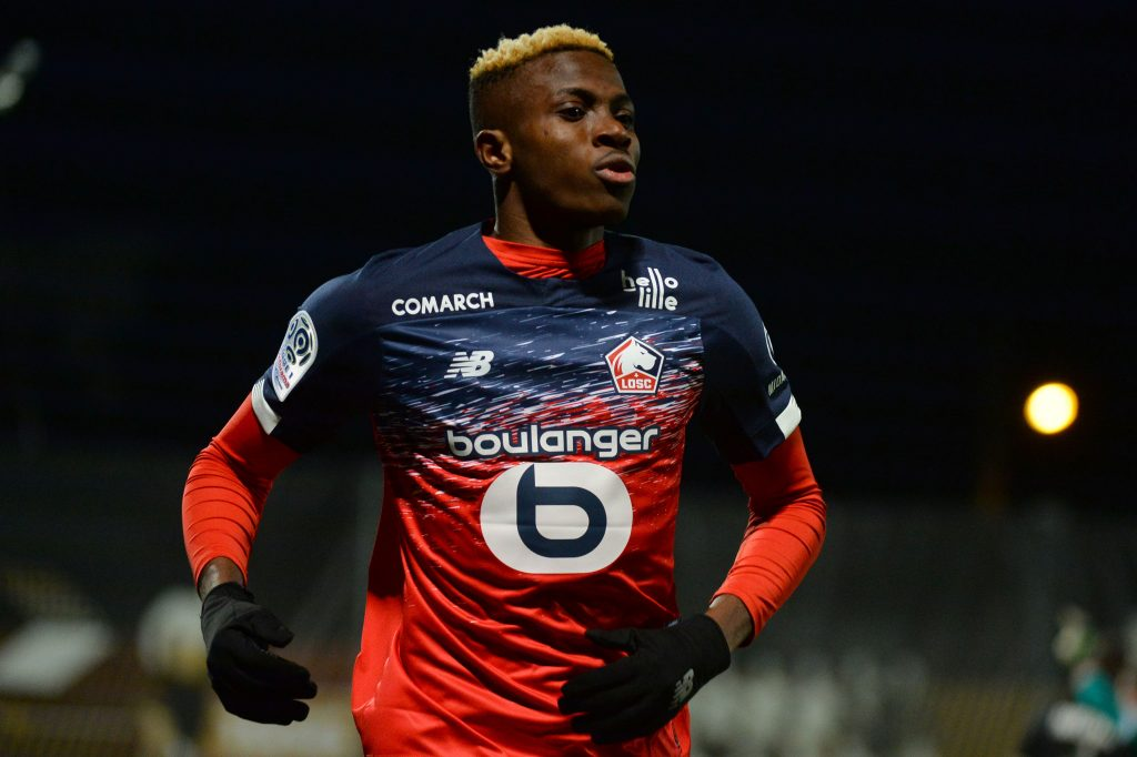 Lille's Nigerian forward Victor Osimhen celebrates scoring his team's first goal during the French L1 Football match between Angers SCO and Lille (LOSC), at Raymond-Kopa Stadium, in Angers, northwestern France on Febuary 07, 2020. (Photo by JEAN-FRANCOIS MONIER / AFP) (Photo by JEAN-FRANCOIS MONIER/AFP via Getty Images)