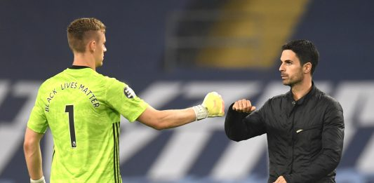 MANCHESTER, ENGLAND - JUNE 17: Mikel Arteta, Manager of Arsenal and Bernd Leno of Arsenal interact at full-time after the Premier League match between Manchester City and Arsenal FC at Etihad Stadium on June 17, 2020 in Manchester, United Kingdom. (Photo by Peter Powell/Pool via Getty Images)