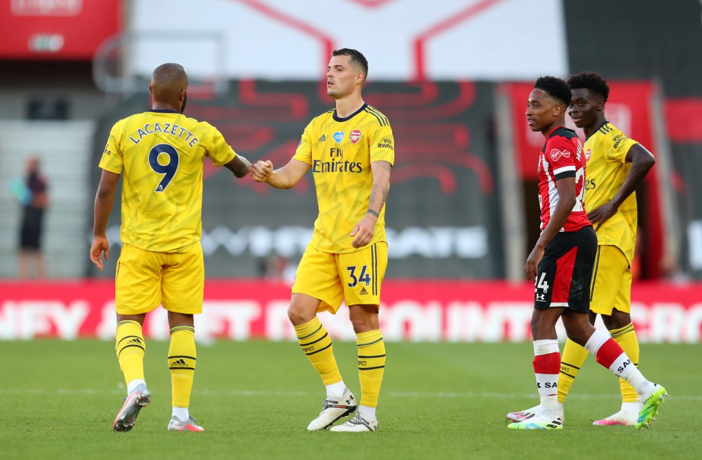 SOUTHAMPTON, ENGLAND - JUNE 25: Alexandre Lacazette interacts with Granit Xhaka of Arsenal following the Premier League match between Southampton FC and Arsenal FC at St Mary's Stadium on June 25, 2020 in Southampton, United Kingdom. (Photo by Catherine Ivill/Getty Images)