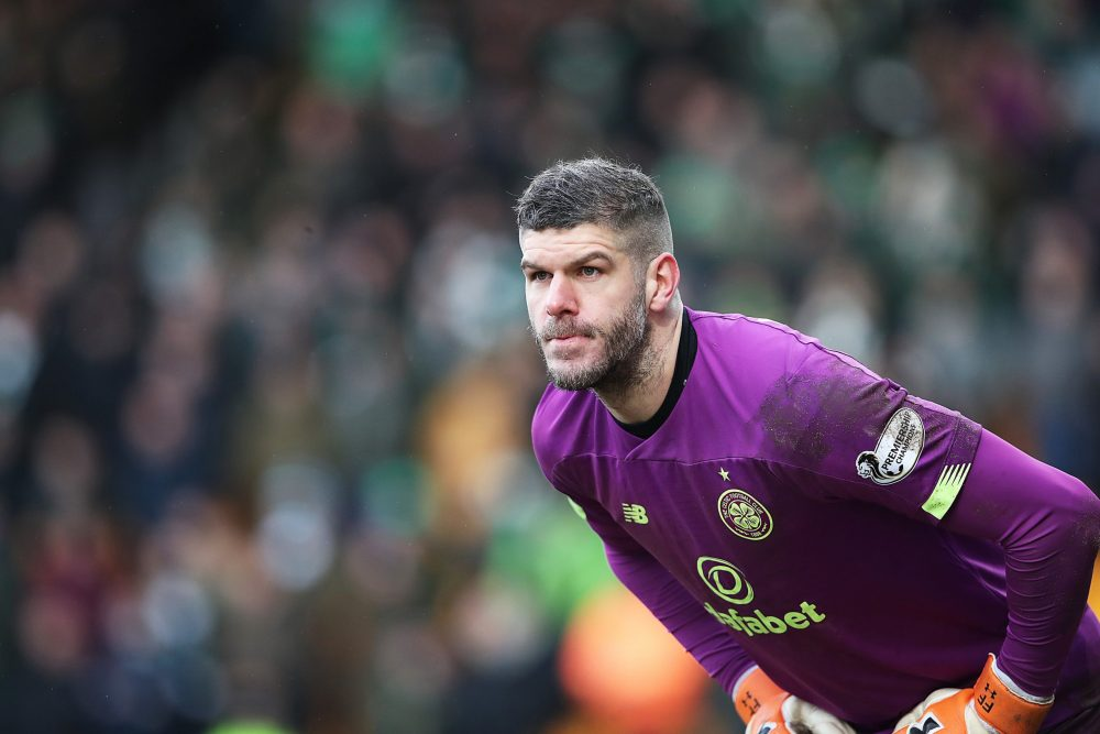 PERTH, SCOTLAND - MARCH 01: Celtic goalkeeper Fraser Forster looks on during the Scottish Cup Quarter final match between St Johnstone and Celtic at McDiarmid Park on March 01, 2020 in Perth, Scotland. (Photo by Ian MacNicol/Getty Images)