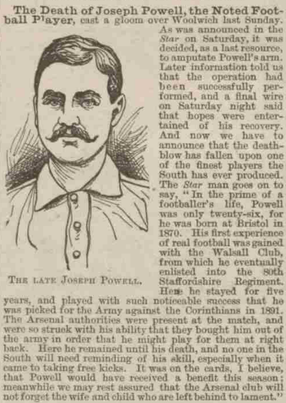 Penny Illustrated, 5 December, 1896, describing Joe Powell as 'one of the finest players the South has ever produced'