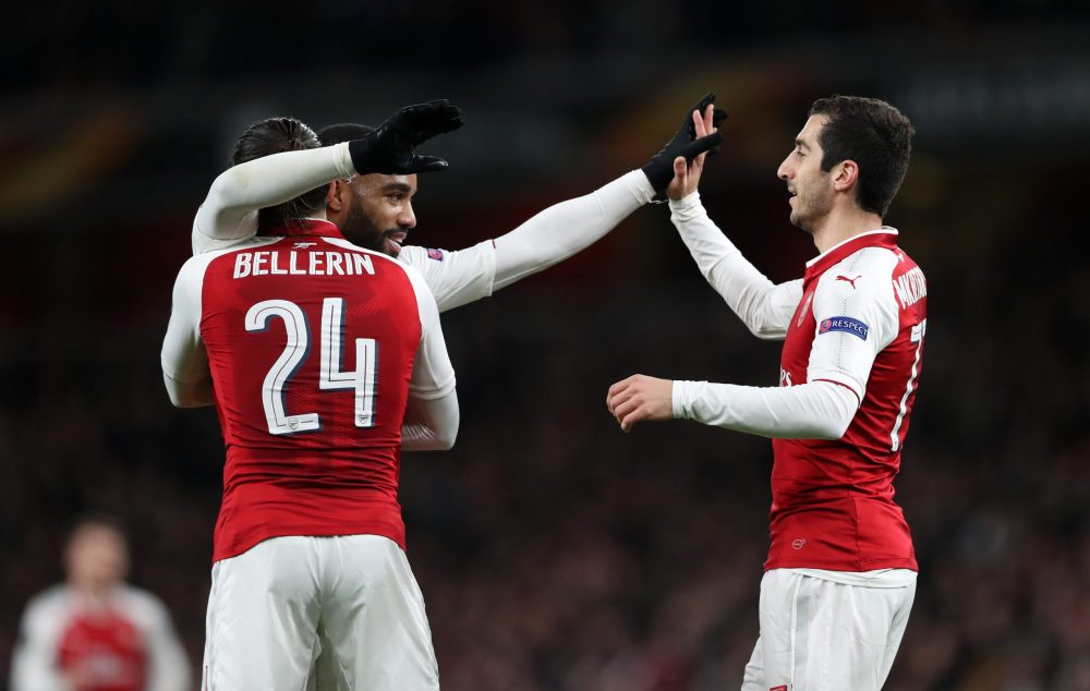LONDON, ENGLAND - APRIL 05: Alexandre Lacazette of Arsenal celebrates with Hector Bellerin and Henrikh Mkhitaryan after scoring the fourth goal during the UEFA Europa League quarter final first leg match between Arsenal FC and CSKA Moskva at Emirates Stadium on April 5, 2018 in London, United Kingdom. (Photo by Dan Istitene/Getty Images,)