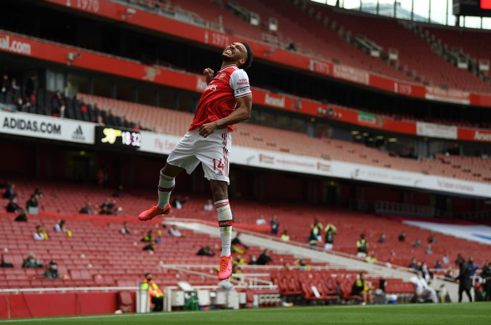 LONDON, ENGLAND - JULY 01: Pierre-Emerick Aubameyang of Arsenal celebrates after scoring the first goal during the Premier League match between Arsenal FC and Norwich City at Emirates Stadium on July 01, 2020 in London, England. (Photo by Shaun Botterill/Getty Images)