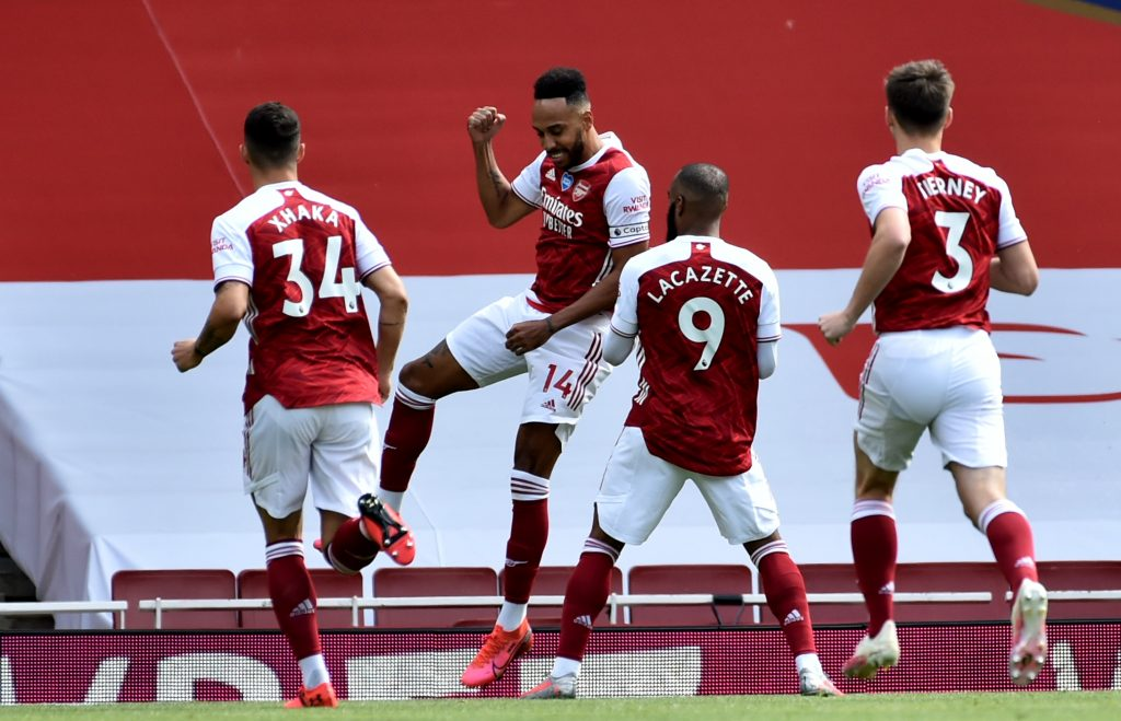 LONDON, ENGLAND - JULY 26: Pierre-Emerick Aubameyang of Arsenal celebrates scoring a penalty during the Premier League match between Arsenal FC and Watford FC at Emirates Stadium on July 26, 2020 in London, England. (Photo by Rui Vieira/Pool via Getty Images)