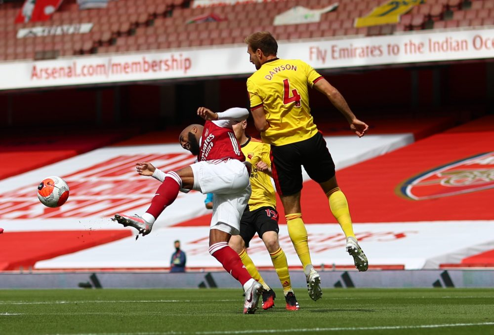 LONDON, ENGLAND - JULY 26: Alexandre Lacazette of Arsenal is fouled leading to a penalty during the Premier League match between Arsenal FC and Watford FC at Emirates Stadium on July 26, 2020 in London, England. (Photo by Julian Finney/Getty Images)