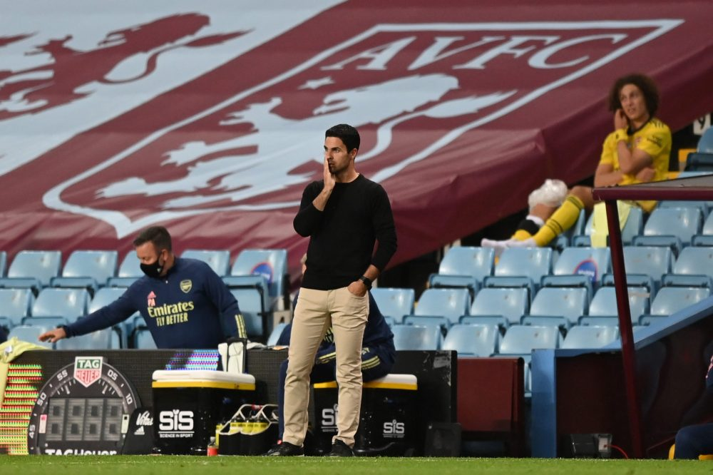 BIRMINGHAM, ENGLAND - JULY 21: Mikel Arteta, Manager of Arsenal looks on during the Premier League match between Aston Villa and Arsenal FC at Villa Park on July 21, 2020 in Birmingham, England. Football Stadiums around Europe remain empty due to the Coronavirus Pandemic as Government social distancing laws prohibit fans inside venues resulting in all fixtures being played behind closed doors. (Photo by Shaun Botterill/Getty Images)