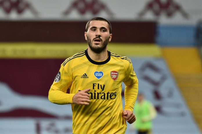 BIRMINGHAM, ENGLAND - JULY 21: Sead Kolasinac of Arsenal in action during the Premier League match between Aston Villa and Arsenal FC at Villa Park on July 21, 2020 in Birmingham, England. Football Stadiums around Europe remain empty due to the Coronavirus Pandemic as Government social distancing laws prohibit fans inside venues resulting in all fixtures being played behind closed doors. (Photo by Rui Vieira/Pool via Getty Images)