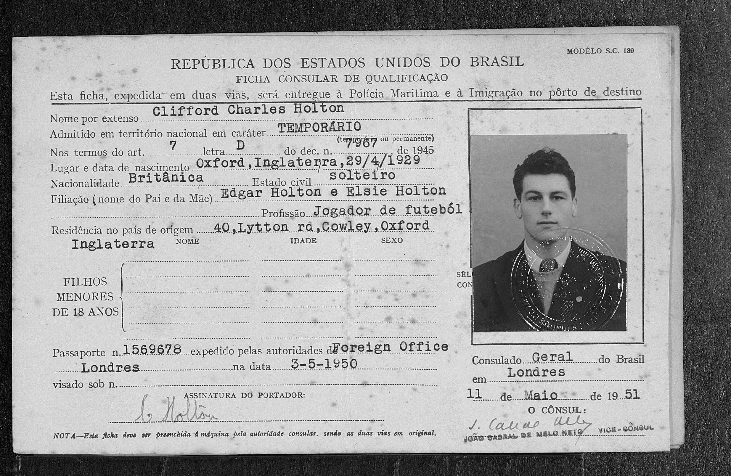 Arsenal's Cliff Holton's 1951 visa for Brazil