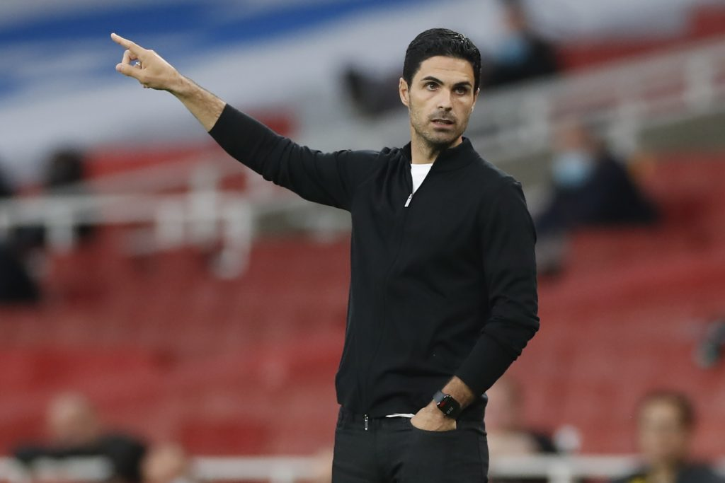 Arsenal's Spanish head coach Mikel Arteta gestures on the touchline during the English Premier League football match between Arsenal and Liverpool at the Emirates Stadium in London on July 15, 2020. (Photo by PAUL CHILDS / POOL / AFP)