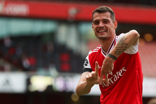 Arsenal's Swiss midfielder Granit Xhaka celebrates after scoring a goal during the English Premier League football match between Arsenal and Norwich City at the Emirates Stadium in London on July 1, 2020. (Photo by MIKE EGERTON / POOL / AFP)