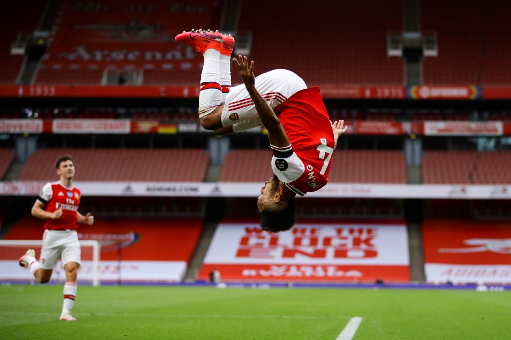 Arsenal's Gabonese striker Pierre-Emerick Aubameyang celebrates after scoring a goal during the English Premier League football match between Arsenal and Norwich City at the Emirates Stadium in London on July 1, 2020. (Photo by Richard Heathcote / POOL / AFP)