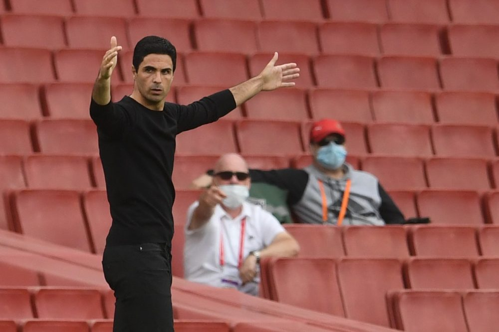 Arsenal's Spanish head coach Mikel Arteta reacts during the English Premier League football match between Arsenal and Watford at the Emirates Stadium in London on July 26, 2020. (Photo by NEIL HALL / POOL / AFP)