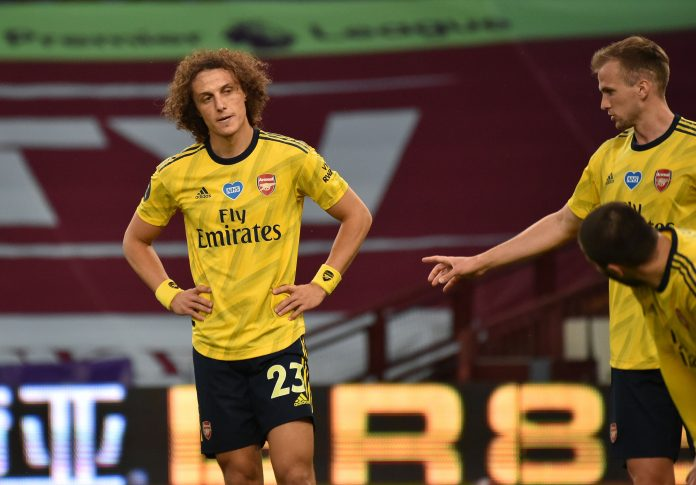 Arsenal's Brazilian defender David Luiz (L) reacts during the English Premier League football match between Aston Villa and Arsenal at Villa Park in Birmingham, central England on July 21, 2020. (Photo by Rui Vieira / POOL / AFP)